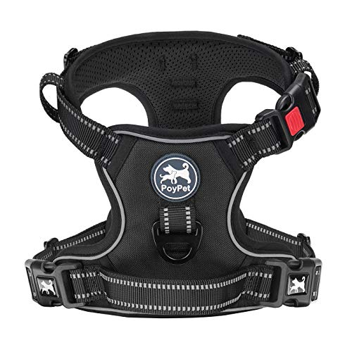 PoyPet Dog Harness No Pull, Reflective Vest Harness with Front & Back 2 Clips and Easy Control Handle for Small Medium Large Breed Dog (M, Black)