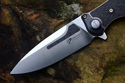 Kevin John Venom Knife M390 Bone Doctor Titanium CF handle Flipper Outdoor Hunting Pocket Folding Knives