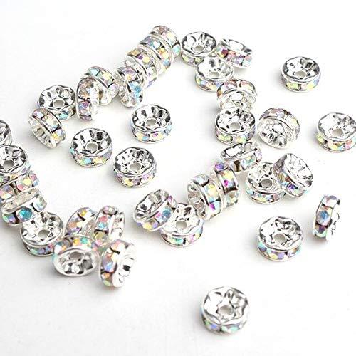 Lote de 100 cuentas espaciadoras sueltas de 4/6/8 mm de color oro/plata con diamantes de imitación para hacer joyas y accesorios