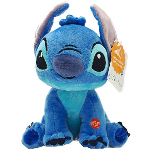 figura de felpa con licencia para Disney's Lilo & Stitch Puntada de peluche con sonido acogedor y suave Altura 27 cm Color azul