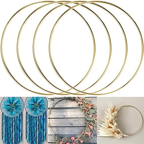 ALEMIN 4 anillos de metal de 30 cm, corona de oro, anillos de macramé, atrapasueños, anillos de metal para manualidades, corona de boda, decoración de pared, flores