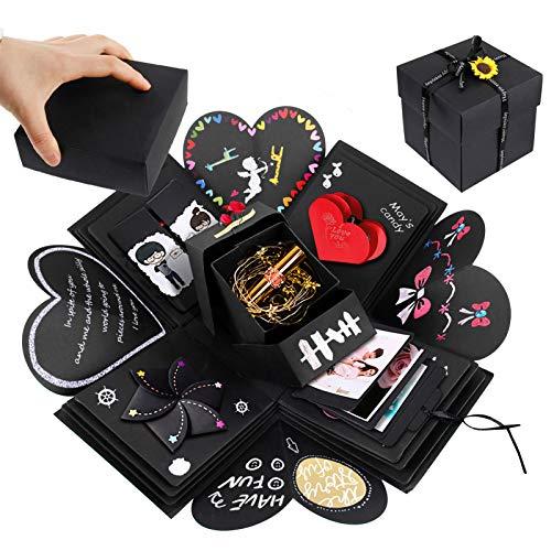 Migimi Caja de regalo de explosión hecha a mano con fotos sorpresa caja álbum álbum de recortes de amor recuerdo caja de regalo especial cumpleaños boda día de San Valentín aniversario