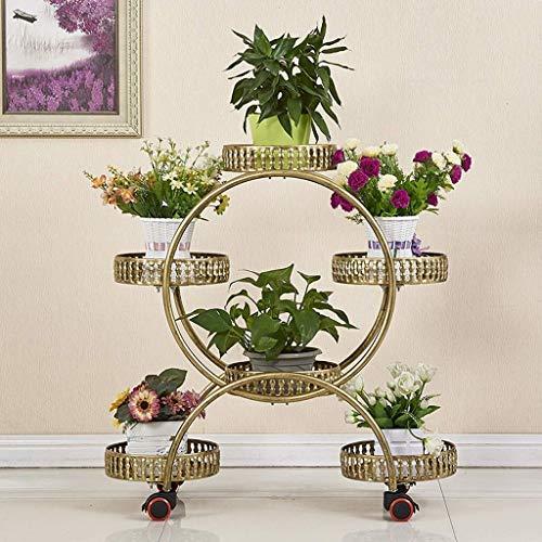 Dongyd Blumenständer mit Rollen, 4-Schicht 6 Körbe mit Rädern Metall Sammelstelle & Blumentopfpflanze Halter Display Rack, Regale Blumen, Schmiedeeisen (Color : Gold)