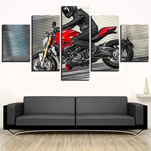 MXmama 5 Piezas de Arte en Lienzo, Motocicleta, póster de Carreras Cruzadas, Lienzo, Pintura, Arte de Pared, hogar, Sala de Estar, decoración, Imagen -30x40 30x60 30x80cm (sin Marco)