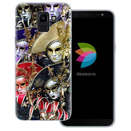 dessana Carnaval Venetië transparante beschermhoes mobiele telefoon case cover tas voor Samsung Galaxy A J, Samsung Galaxy J6 (2018), Venetiaans masker.