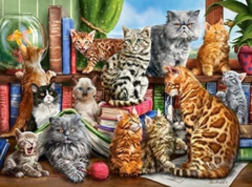 WOMGD® Puzzels 1000 stukjes, houten legpuzzel, educatief spel Brain Challenge-speelgoed voor kinderen, kinderkat op de plank