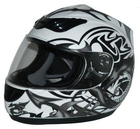 protectWEAR Motorradhelm, Integralhelm, Drachendesign (Grau/Weiß), M