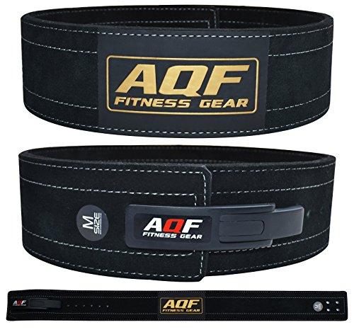 AQF Cintura Palestra Uomo Pelle 4' per Sollevamento Pesi, Suède Pelle Cintura Powerlifting Fibbia a Leva Supporto Lombare pour Fitness & Bodybuilding (3XL)
