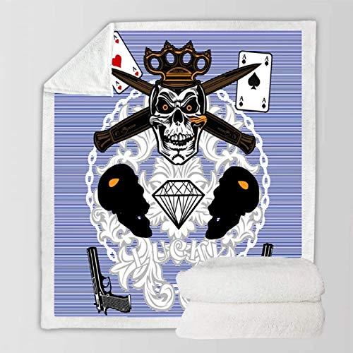 Regalo de Halloween Manta de tiro Skull Boys Cozy TV Mantas Sherpa Fleece Covering Purple Calidez Rodilla al aire libre Decoración para el hogar Mantas 150 * 200cm