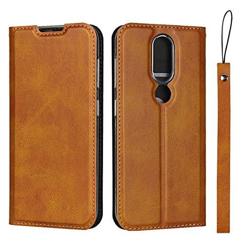 Hülle für Nokia 4.2, SONWO Ultra dünn PU Ledertasche Flip Brieftasche Handyhülle für Nokia 4.2, mit Karteneinschub und Magnetverschluss, Braun