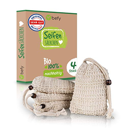 befy Seifensäckchen – [4x] Bio Seifenbeutel – vegane & nachhaltige Seifenaufbewahrung - perfekt aufschäumendes Seifennetz für Ganzkörper Peeling - Seifensack aus Sisal – Dermatest geprüft