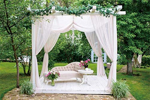 New 7x5ft Vinyl Natural Landscape Photography Background Summer Gazebo Fresh Garden Sofa Decorated with Flowers and White Curtains Backdrop for Newborn Baby Adults Portrait Decor Photo Studio Prop