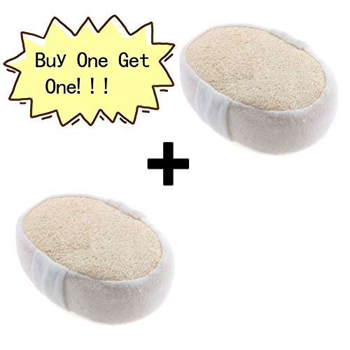 BENNINGCO Exfoliating Loofah Bath Sponge Pads- Ultra Thick Buy One Take One Unisex 100% Pure Natural Green Woven Rattan Natural Loofah Bathe ball Exfoliating Loofah Bath Sponge