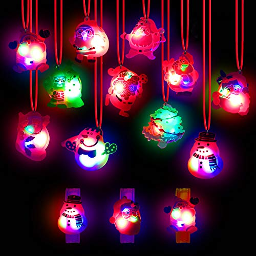 Christmas Light Up Toy - 24 pcs Christmas LED Light Up Party Favor Necklace Bracelet Wristband for Men and Women Flashing Christmas Stocking Stuffers Ornaments Decorations with Gift Packge