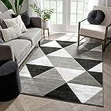 Well Woven Arlo Tiles Grey Modern Triangle Pattern 5 x 7 (5' x 7'2'') Area Rug Abstract Geometric Carpet