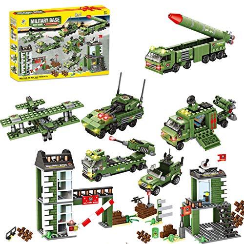 Dittzz 1219 Stück Militär Bausteine Spielzeug, Armee Baukasten Waffen und Zubehör Set Einschließlich Raketenfahrzeuge, Panzer, Kampfjets für Minifigur, Soldat, Compatible with Lego
