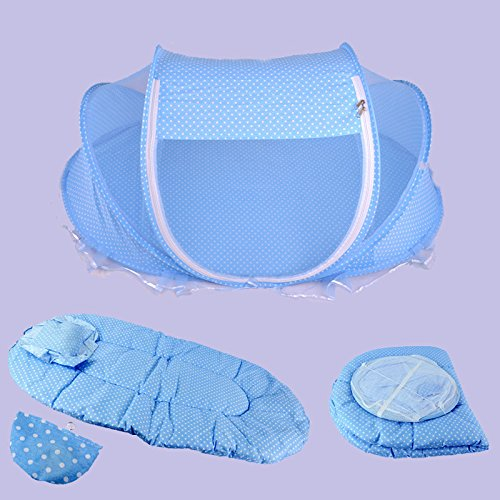 Bazaar 4pcs Baby Matratze Kopfkissen faltbar Babybett Besteck Mücke einem Zelt Net Set Baumwolle gepolstert