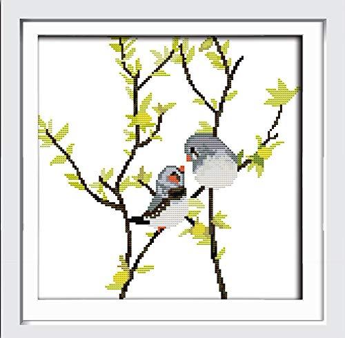 Abillyn - Kit de punto de cruz, diseño de pájaro en rama con estampado de patrón impreso (pájaro)