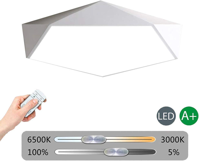 VinDeng Geometrie LED Deckenleuchte Für Schlafzimmer Esszimmer, 24W Pentagon 16 zoll Deckenlampe Dimmbar Ultradünn Mit Bunt Metal Eisen Acryl-Wei Stufenloses Dimmen