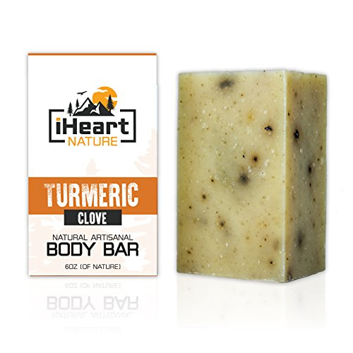 Organic Turmeric Soap Bar (Large 6 Ounce) Made in USA (Turmeric Helps Minimize Acne, Pores, Blemishes) Bright Beautiful Natural Glowing Skin Soap (Spicy Clove Aromatherapy)