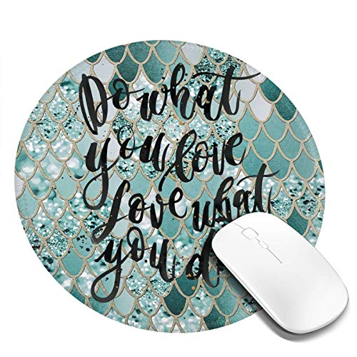 Inspirational Quote Glitter Gaming Mouse Pad, Do What Non-Slip Rubber Base Round Small Mousepad with Stitched Edge Portable Mouse Mat 7.9x7.9x0.12 Inch for Laptop Computer Pc Home Office Work Travel