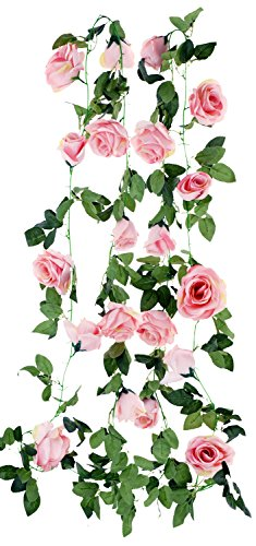 FiveSeasonStuff 2 Pcs Artificial Silk (Pink) Rose Garland Vine Plant Flower Leaves (4.4m / 173 inches)