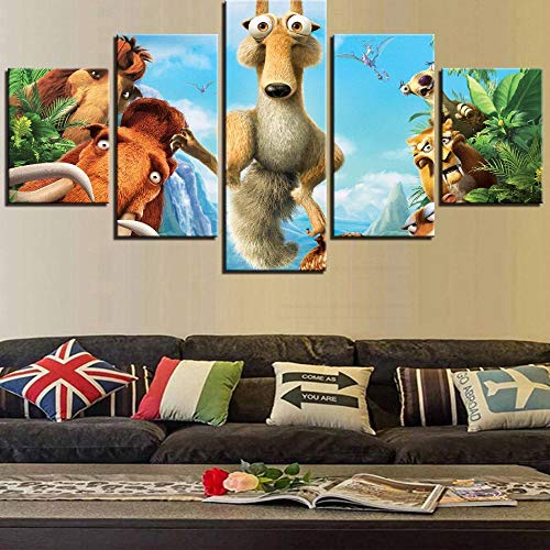 PANPAN Canvas Paintings Hd Prints Canvas Pictures Modern Wall Art 5 Pieces Cartoon Movie Ice Age Squirrel Animals Paintings Poster Prints on Canvas