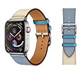 UooFrom Leather Band Compatible with Apple Watch Band 38mm 40mm 42mm 44mm, Luxury Genuine Leather Bands Replacement for iWatch Series 5/4/3/2/1 (Blue/Craie, 42mm(S1、S2、S3)/44mm(S4、S5))