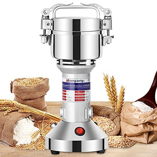 Moongiantgo Mulino Elettrico per Cereali 150g Mulino per Spezie Acciaio Inossidabile, 950W 28000RPM Motore Commerciale & 30s Rettifica Superfine ad Alta Velocità, per Cereali / Erbe / Spezie / Noci
