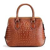 CMAO Bolso de cuero genuino para mujer, bolso de hombro de cuero real con patrón de cocodrilo de moda, bolso bandolera clásico-marrón