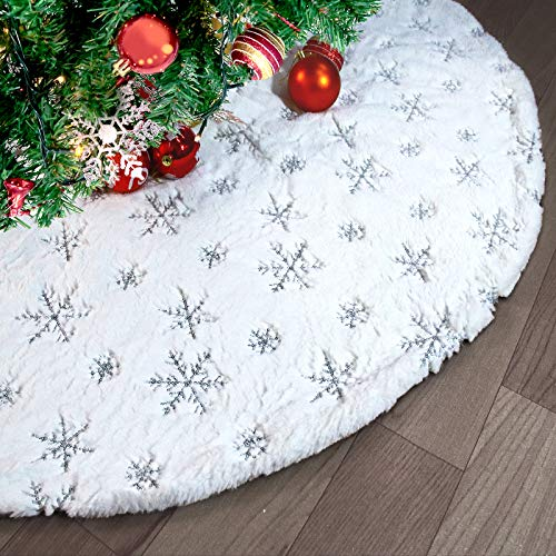 90CM Weihnachtsbaumrock Baumdecke Weihnachtsbaum, Weiche Weihnachtsbaumdecke Weißer Kunstpelz Teppich mit Goldenes Schneeflocke Muster für Weihnachtsfeiertags Dekoration Baumschmuck