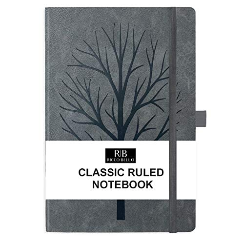 RICCO BELLO College Ruled Hardcover Journal - Vegan Leather, Elastic Closure, Pen Loop, Bookmark, Inner Pocket, 192 Lined Pages, 5.7 x 8.4 inches (Granite Tree)
