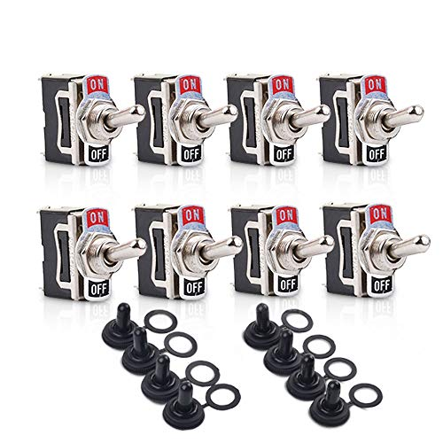 Toggle Switches 8 Pack 2 Pin ON Off SPST Car Rocker Toggle Switches,15A 250V 20A 125V Switch Metal Bat,Heavy Duty with Waterproof Boot Cap