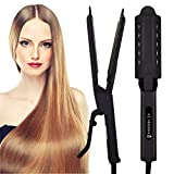 Hair Straightener Professional Glider Ceramic Tourmaline Ionic Flat Iron, Straightens & Curls with Four Adjustable Temperature,Hair Treatment Styling Tools,Wide Plate for All Hair Types,Frizz Free