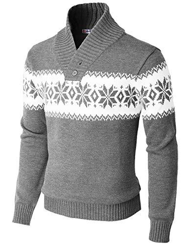 H2H Mens Casual Slim Fitted Shawl Collar Pullover Sweater Gray US L/Asia XL (KMOSWL0102)