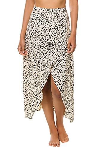 Beachgold Women's Lara Cheetah Print Midi Skirt Swim Cover Up Carbo Sand XS