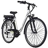 Adore E-City Bike Damen Versailles 28'' Alu Pedelec weiß-grün 7 Gang E-Bike 250Watt Li-Ion 36V/10,4Ah