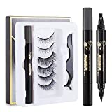 Boobeen Eye Makeup Set - Eyebrow Pencil Dual Magnetic Eyeliner Eyelashes & Tweezers Kit - Microblading Eyebrow Tattoo Pen with a Micro-Fork Tip Applicator - 3 Pairs No Glue 3D Reusable Handmade Lashes