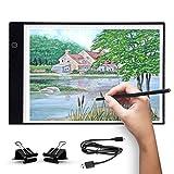 UKON A4 LED Tavoletta Luminosa per Disegno,Ultra-Sottile Light Board Tavolette Disegno Tra...