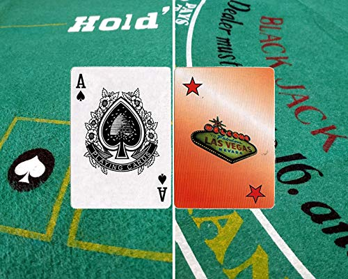Texas Hold'em Poker & Blackjack 2-Sided Premium Felt Layout Fabulous Las Vegas Playing Card Deck