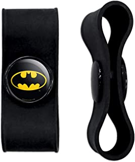 GRAPHICS & MORE Batman Classic Bat Shield Logo Headphone Earbud Cord Wrap - Charging Cable Manager - Wire Organizer Set of 2 - Black