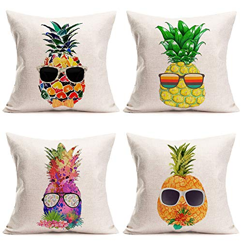 Tlovudori - Funda de cojín para sofá de 45,7 x 45,7 cm, diseño de piña tropical, multicolor