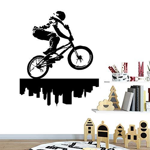 Bicicleta pegatinas planas pegatinas de pared sala de estar arte infantil decoración de la pared decoración mural pegatinas negras pegatinas de pared de plástico57cm X 68cm