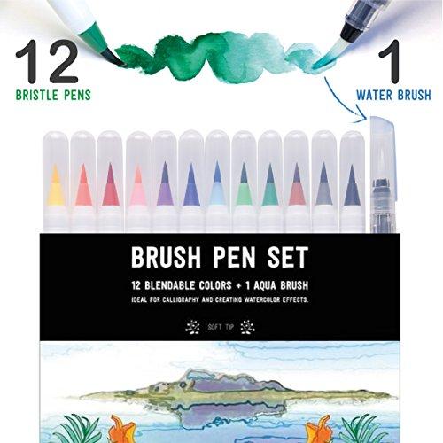 STATIONERY ISLAND Pinselstifte 12 Farben + 1 Wasserpinsel - Aquarell Brush Pens Mit Echter Pinselspitze. Für Kalligraphie, Beschriftung, Bullet Journal, Zeichnen & Farbgestaltung