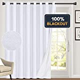 100% Blackout Linen Look Patio Door Curtain 84 Inches Long Extra Wide Thermal Insulated Grommet Curtain Drapes for Living Room/Sliding Glass Door, Primitive Winow Treatment Decoration, White