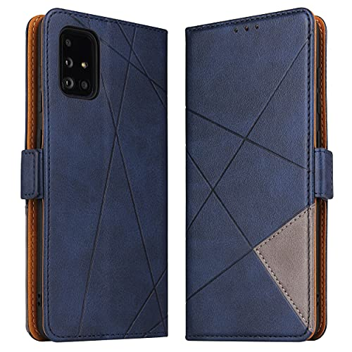 BININIBI Hülle für Samsung Galaxy M51, Klapphülle Handyhülle Schutzhülle für M51 Tasche, Lederhülle Handytasche mit [Kartenfach] [Standfunktion] [Magnetisch] für Samsung Galaxy M51, Blau