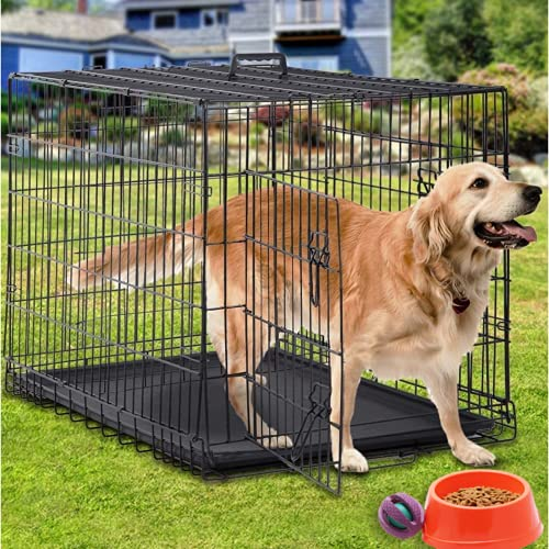 Large Dog Crate Kennel 48 Inch Metal Wire Dog Crate, Double-Door Folding Indoor & Outdoor Pet Dog Crates Dog Kennel w/ Plastic Tray & Handle Dog Crate Furniture for Medium Large Dogs, Black