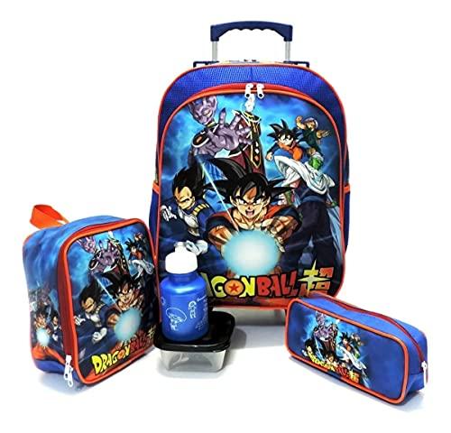 Kit Completo Mochila Infantil Dragon Ba ll Z Goku Super Rodinhas Tam G Azul F5