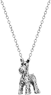 3D Welsh terrier Charm 925 Sterling Silver Plated Retro Schnauzer Dog Pendant Necklace
