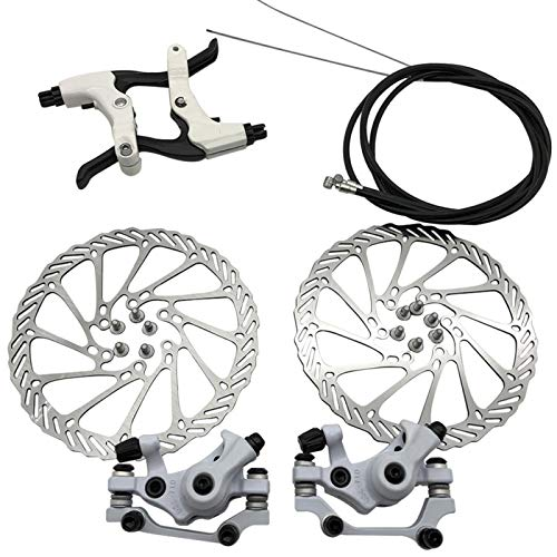 Mountain Bicycle Mechanical Disc Brake Set, Front Rear Caliper 160mm Disc Brake Rotor Brake Levers Cable Kit for Mountain Road Bike, Riding Bicycle Repairing Parts